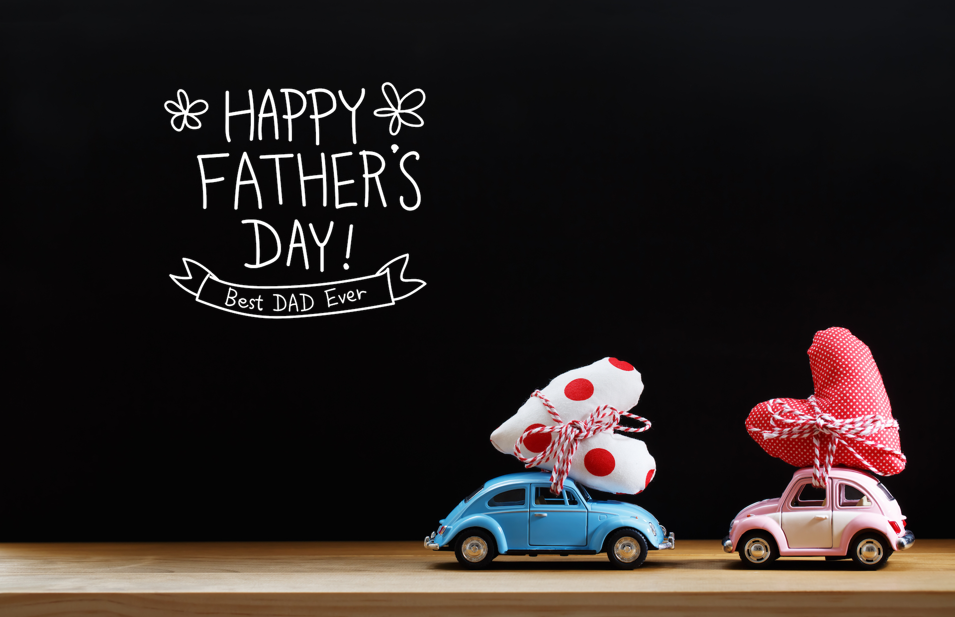 Fathers Day gifts, message with pink and blue cars